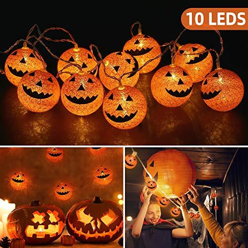 OUSFOT Kürbis Lichterkette Batteriebetrieben 10er LEDs Halloween Deko Baumwollkugeln Außen- & Innenbeleuchtung 168CM