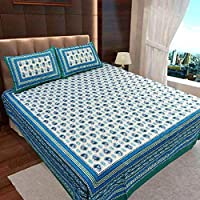 Ahmedabad Cotton 104 TC 100% Cotton Double Flatsheet Bedsheet with 2 Pillow Covers - Multicolor