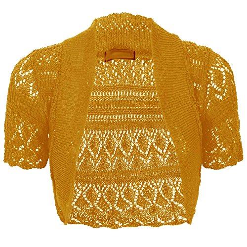 Baleza a maniche corte da donna lavorato a maglia uncinetto coprispalle BOLERO Cardigan da donna Crop Top 8–26SZ Mustard