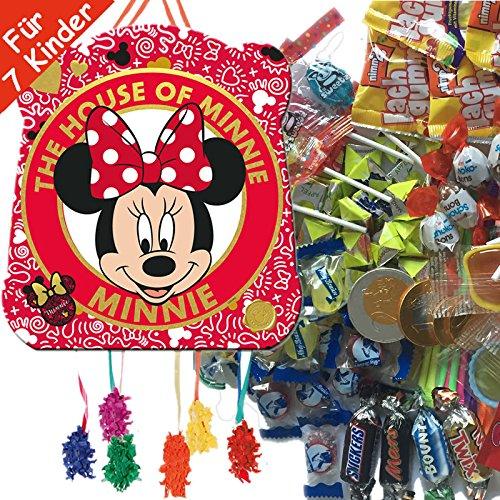 Pinata Set: * Minnie Mouse * mit Pinata + 100-teiliges Süßigkeiten-Füllung No.1 von Carpeta // Spanische Zugpinata für bis zu 7 Kinder. Tolles Spiel für Kindergeburtstag