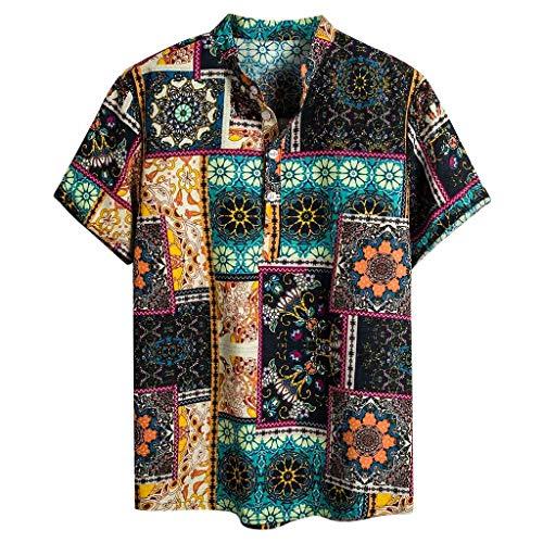 T.boys Herren Retro Hemd Hawaiihemd Lightweight Casual Oberteile Bequeme aus hochwertiger -