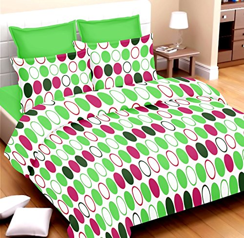 rivaz DOUBLE BEDSHEET with pillow covers BLENDED COTTON Queen 180 TC - Romantic Circles Green 1549