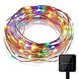 Solar Copper Wire String Lights, SUAVER 200 LEDs 72ft/22M Waterproof Outdoor Starry String Lights Christmas Decorative Lights for Trees Patio Gardens Party Christmas (Multicolor)