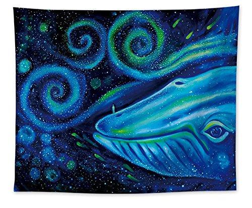 Kreative Aquarell Blauwal Wandteppich Gute Segen Wandkunst Tapisserie Funkelnden Spirale Marine Tier Leben Wand Dekor Psychedelisch Abstrakte Wandbehang für Schlafzimmer Wohnzimmer Wohnheim 79 * 58in (Funkelnde Aquarell)