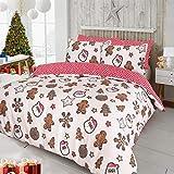 clicktostyle Bettwäsche-Set mit Kissenbezügen, weihnachtliches Weihnachtsdesign, Polycotton, Christmas Cookies, Doppelbett