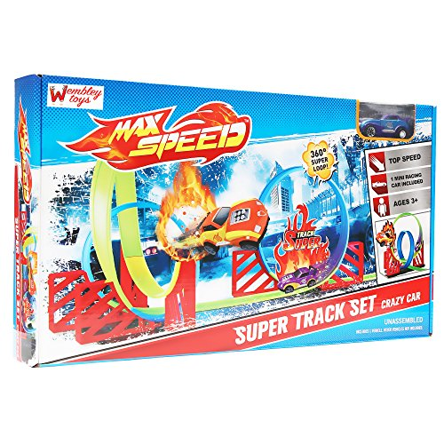 Wembley Toys Max Speed Crazy Track Set with 3 360 Degree Turns and 1 Pull Back Rotating Car (Multicolour)