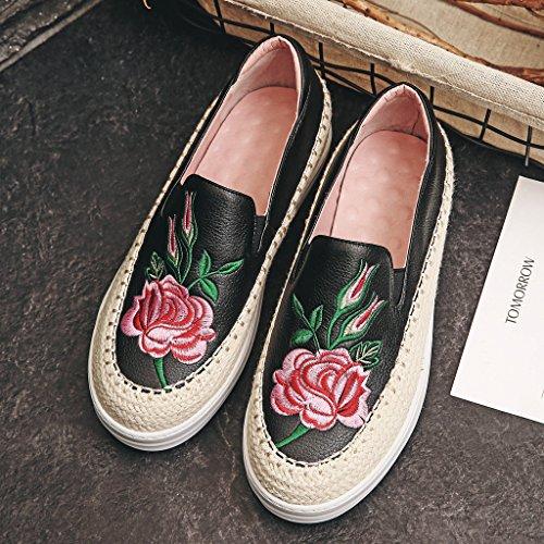 Bordados Mulheres Chinelo Couro Pretas Das Calçado Moda Alpercatas De Planalto SW78ISczR