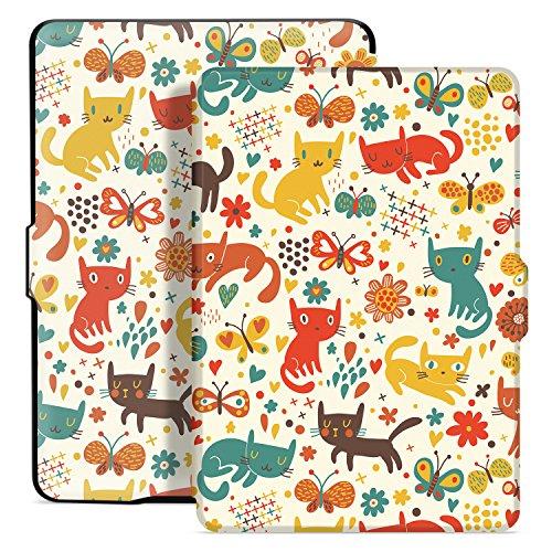 Ayotu Hülle für Kindle Paperwhite-Case Cover Mit Auto Sleep/Wake für Amazon Kindle Paperwhite 2012/2013/2016/2015 3.Generation(Nicht geeignet für das Modell der 10. Generation 2018) K5-04 The Cat