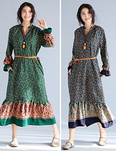 MODETREND Damen Elegante Kleider mit Gürtel Baumwolle Leinen Geblümt Lässig Langarm Tunika Sommerkleid Strandkleid Grün