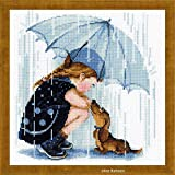 Riolis Unter meinem Unter meinem Regenschirm Kreuzstich-Set, Baumwolle, Mehrfarbig, 25 x 25 x 0.1 cm
