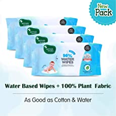 Mother Sparsh Baby Water Wipes (Pack of 4, 80 Wipes) - Plant Based Fabric, 100% Biodegradable Wipes