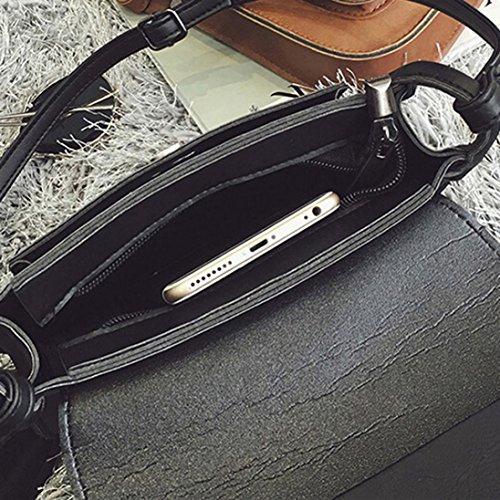 BZLine® Leder Fransen-Handtasche Crossbody Messenger Münze Taschen, 20cm(L)*18cm(H)*5cm(W) Schwarz