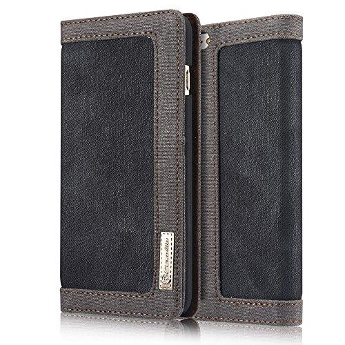 CaseMe Coque Protection Waterproof Jeans Cloth Leather Cover Flip Wallet Case pour iPhone SE / iPhone 5s / iPhone 5 Noir