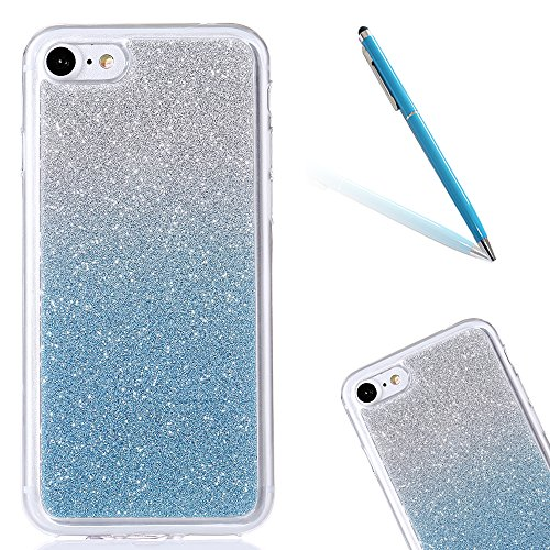 Clear Matte Crystal Rubber Protettivo Case Skin per Apple iPhone 7 4.7, CLTPY Moda Brillantini Glitter Sparkle Lustro Progettare Protezione Ultra Sottile Leggero Cover per iPhone 7 + 1x Stilo - Purpl Ciano-Blu