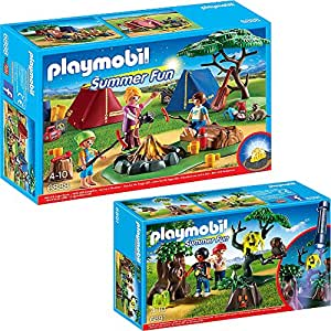 PLAYMOBIL® Summer Fun 2er Set 6888 6891 Zeltlager mit LED-Lagerfeuer + Nachtwanderung
