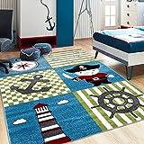 - Lord of Rugs - – Kinderzimmerteppich Pirat, Leuchtturm und Kompass – Kinderteppich – Kinderzimmer Teppich – Qualität Sea World für Jungen und Mädchen, Multi, 160x230cm (5'3''x7'7'')