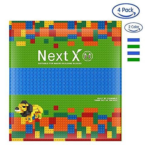 NextX 4 Stück Grundplatten Große Bauplatte Gebäude Spielzeug,25cm* 25cm Verdickung Bausteine Platten set 32 * 32Punkte