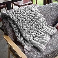 Kbsin212 Tassels - Manta de lana para sofá (tejido a mano, 100 x 120