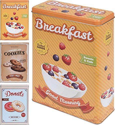 Set von 3Vintage Nostalgie Küche Dosen in Frühstück, Donuts, und American Cookie Designs