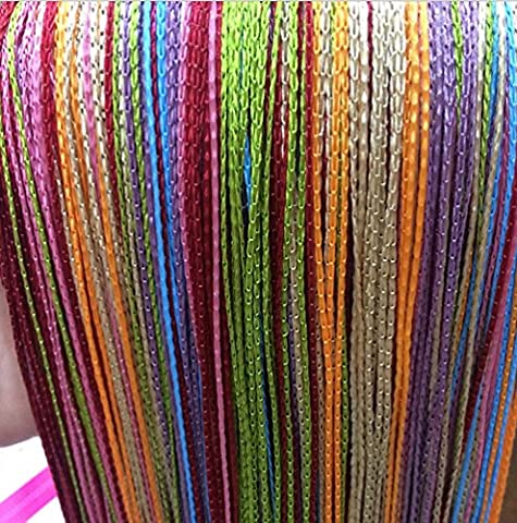 yiyida Mehrfarbig Quaste Fransen bereit Aufhängen Fadenvorhang Raumteiler 100x 200cm Wand Tür Vorhang One Paar Color (Metallic One Pocket)