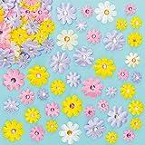 Selbstklebende Satinblumen mit Schmucksteinen zum Basteln und Dekorieren für Kinder ideal zum Frühling, Muttertag und Karneval (60 Stück)
