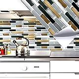 4 pezzi 27,9 x 23,4 cm rame grigio scuro argento mattoncini adesivo per piastrelle I Autoadesivo 3D mattonelle cucina terme autoadesivo da muro decoro piastrelle chiarezza granata W5282