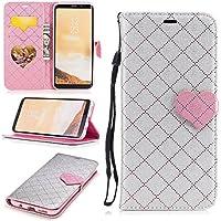 Para Samsung Galaxy S8 Plus funda, (Amor gris) El amor golpeó el color de cuero de la PU Leather cubierta ,Función de Soporte Billetera con Tapa para Tarjetas correa de mano soporte para teléfono