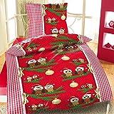 2tlg Winter Bettwäsche Microfaser Flausch Fleece Übergröße 1x 155x220 + 1x 80x80cm NEU mit RV Eulen Paar Weihnachten Rot Weiß Grün Karomuster