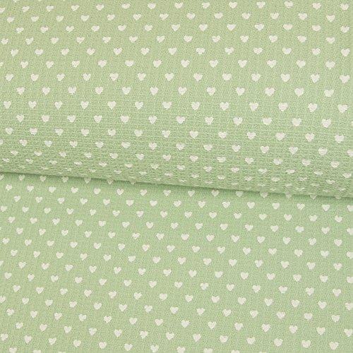 Stoffe Werning Baumwollstoff Waffelpiqué Herzen mint Frottee Kinderstoffe Babystoffe Herz Öko-Tex - Preis gilt für 0,5 Meter