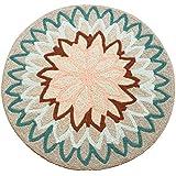 Creative Light- Alfombras redondas nórdicas Dormitorio Sala de estar Alfombras de la silla de la computadora alfombras de la alfombra de la cama ( Color : Verde , Tamaño : 120*120cm )