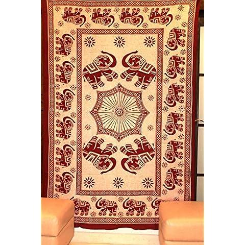 raajsee-indian psicodélico tapiz hecho a mano caminando elefante algodón impreso colgante de pared playa manta dormitorio divisor Hippy estilo # BS81