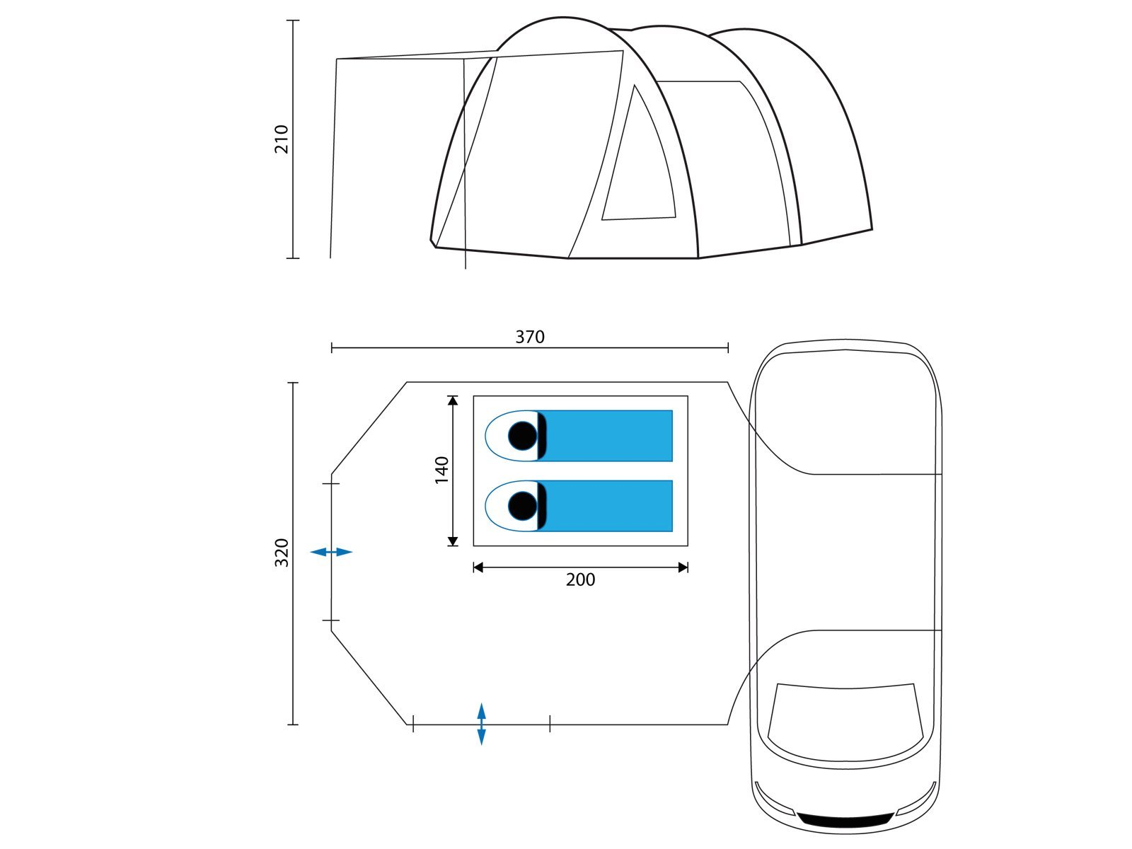 Skandika Camper Tramp Free-Standing Minivan Awning Tent with 2-Berth Sleeping Cabin and 210 cm Peak Height, Sand/Red, 2 Persons 7