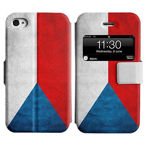 Graphic4You Vintage Uralt Flagge Von Kroatien Kroatisch Design Leder Schützende Display-Klappe Brieftasche Hülle Case Tasche Schutzhülle für Apple iPhone 4 und 4S Tschechische Republik