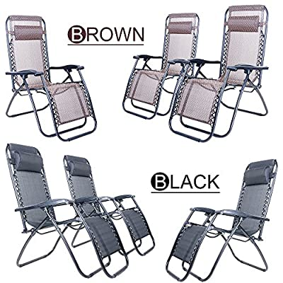 (BTM) Zero Gravity Sun lounger Chair with Headrest Foldable Adjustable Garden Patio Chair Reclining Camping Relax Chair Furniture Outdoor