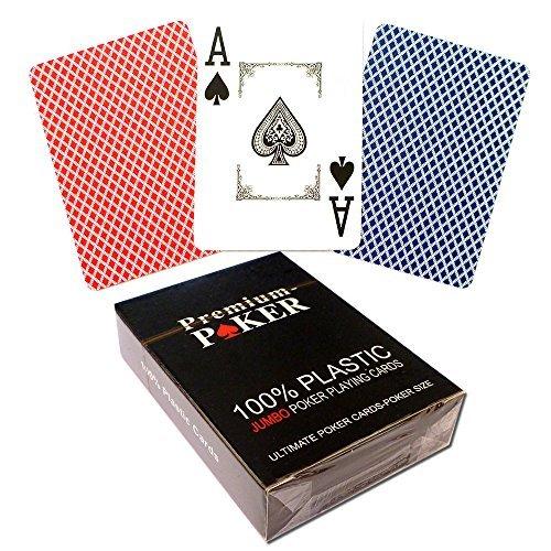 END POKER KARTEN POKERKARTEN 100% PLASTIK -GROSSER INDEX - 2 ECKENZEICHEN CASINO QUALITÄT (Texas Hold ' Em Plastikkarten)