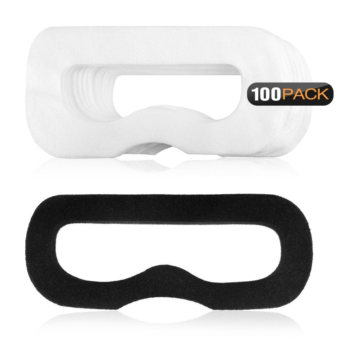 Geekria 100pcs jetables visage Capot Masque avec 1pcs et clés Magic pour HTC Vive la réalité virtuelle/blanc Masque pour les yeux pour Playstation VR/doux et respirant Tissu non tissé pour casque VR