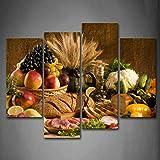 First Wall Art - Nourriture de Cuisine Tableau Toile Fruits dans Le Panier Viande de Légumes de Pain sur la Table Peinture Mu