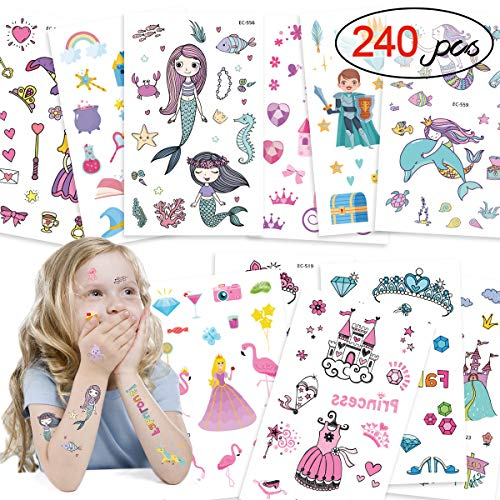 DYFFLE Meerjungfrau Party Tattoo Kinder Set, Meerjungfrau Kindergeburtstag - 240 Prinzessin Temporäre Tattoos Aufkleber, Kinder Tattoo Mädchen Für Geschenktüten Mitgebsel Kindergeburtstag Mädchen