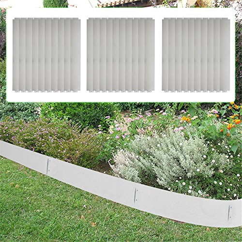 Lot de 5 bordures de gazon MCTECH® en métal galvanisé - Bordure de plate-bande - 14 cm de haut - 100 cm de long 30m