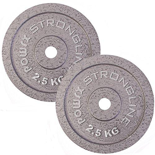Dischi pesi ghisa 5 - 30 kg - Ideali per manubri e bilancieri con braccio da 30 mm - (2 x 15 kg / Grigio Argento)
