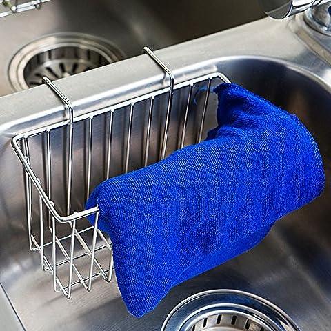 Küchenhandtuch Bürstenhalter, Küchenschwammhalter, Spüle Seifenhandtuch Spülflasche Liquid Draining Holder - 304 Edelstahl (Silber)