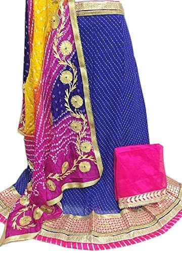 K.K.Sales Georgette Lehenga Choli (Navy Blue & Multi Colour Dupatta_Free Size)