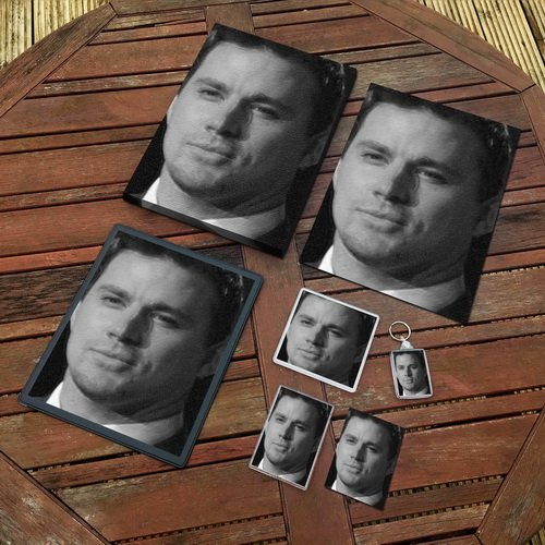 CHANNING TATUM - Original Art Gift Set #js002 (Includes - A4 Canvas - A4 Print - Coaster - Fridge Magnet - Keyring - Mouse Mat - Sketch Card) -