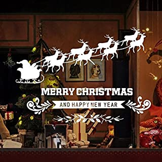 Alicemall Merry Christmas Windows Stickers Removable PVC Christmas DIY Wall Window Door Mural Decal Sticker for Showcase (Christmas 5)