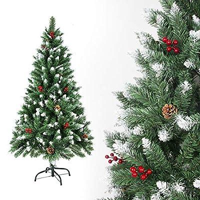 SunJas – Albero di Natale Artificiale con pigne, 120/150/180/210 cm, Punte Appuntite e Abete Artificiale con Supporto in Metallo, Albero di Natale di Alta qualità, pigne (150CM)