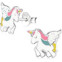 Laimons- Orecchini a perno per bambine e ragazze, unicorno rosa, colore:bianco, con glitter colorati, in argento…