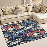 Use7 Dragons Fighting Clouds Area Teppich Teppich für Wohnzimmer Schlafzimmer, Textil, Mehrfarbig, 160cm x 122cm(5.3 x 4 feet)