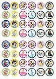 48Disney Prinzessinnen essbare Premium Dicke Süße Vanille, Wafer Reispapier Mini Cupcake Topper, Cake Pops, Cookies