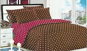 200x220 bordeaux braun Bettwäsche Bettbezüge Bettwäschegarnituren Bettwäscheset Microfaser Punkte bordeaux braun bordeaux BD9