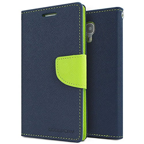 SDO Luxury Mercury Diary Wallet Style Flip Cover Case for Samsung Galaxy S4 Mini i9190 (Blue)